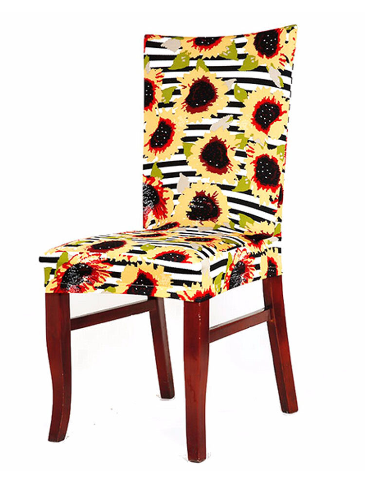 Nature Flower Pattern Chair Cover Universal Home Dining Wedding Decor Chair Slipcover