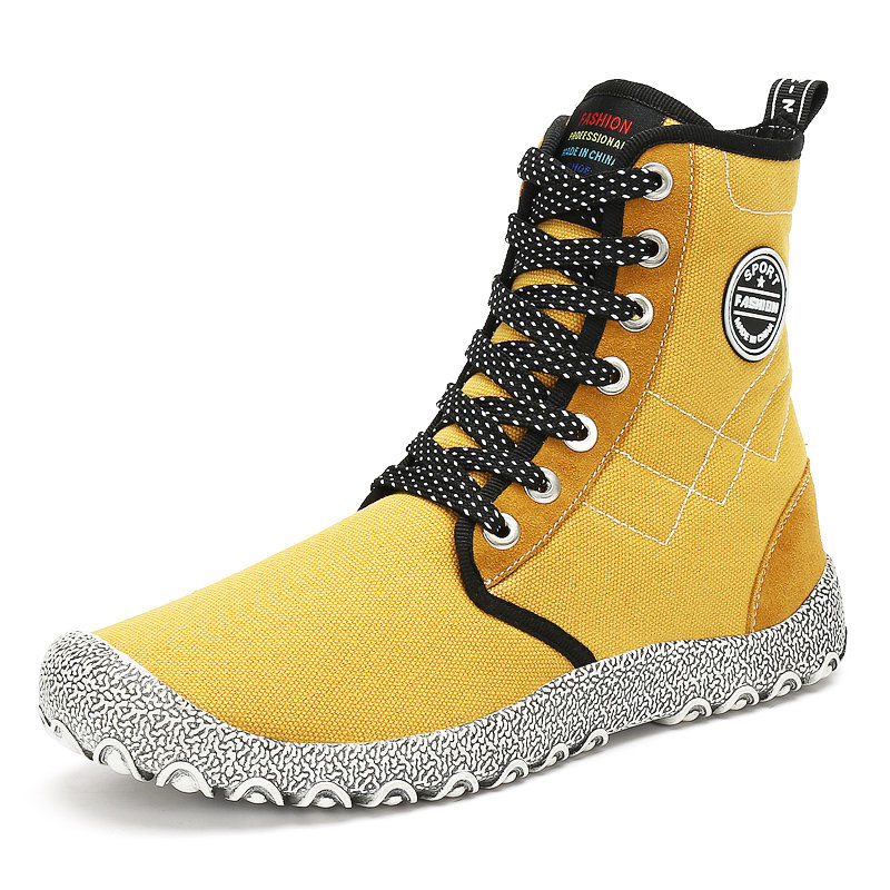 Large Size Men High Top Canvas Outdoor Slip Resistant Ankle Boots