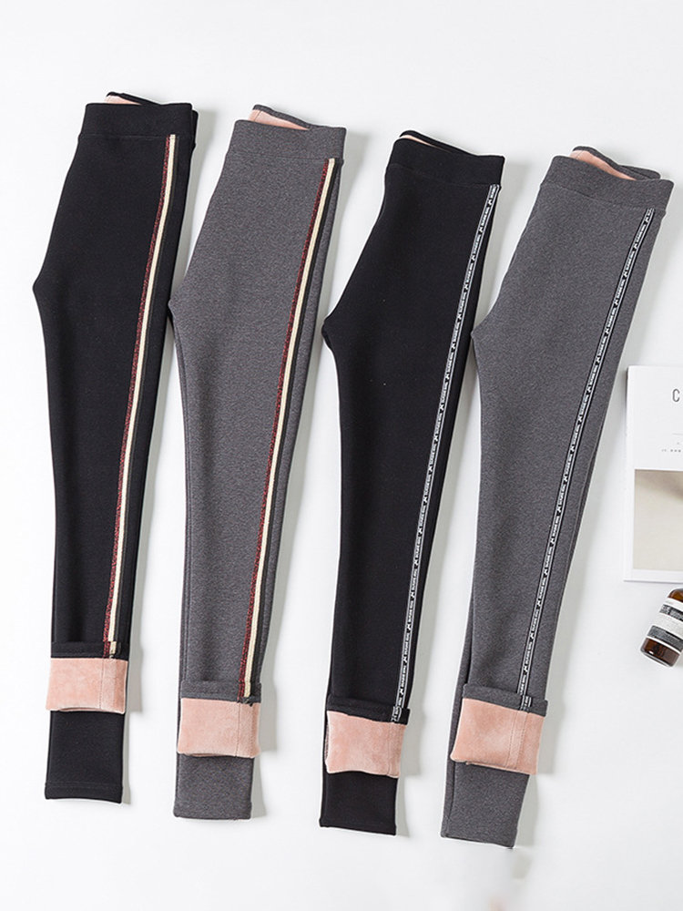 Side Striped Thicken Warm Velvet High Stretch Slim Leggings Pants