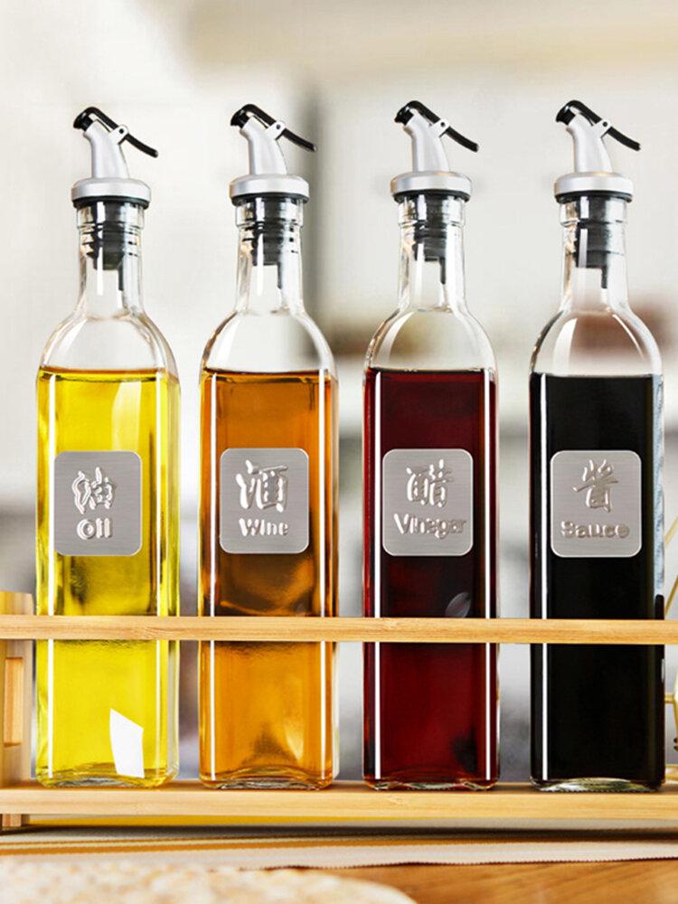 1Pc Glass Sauce Vinegar Oil Bottle Oil Dispenser Container Gravy Boats Condiment Seasoning Bottle Olive Oil Dispenser Kitchen