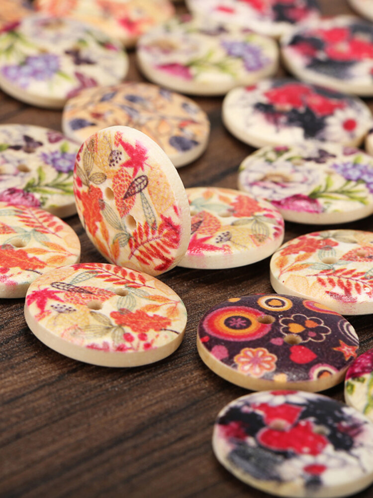 100Pcs Vintage Style Wooden Buttons DIY Craft Sewing Buttons Bag Hat Clothes Decoration