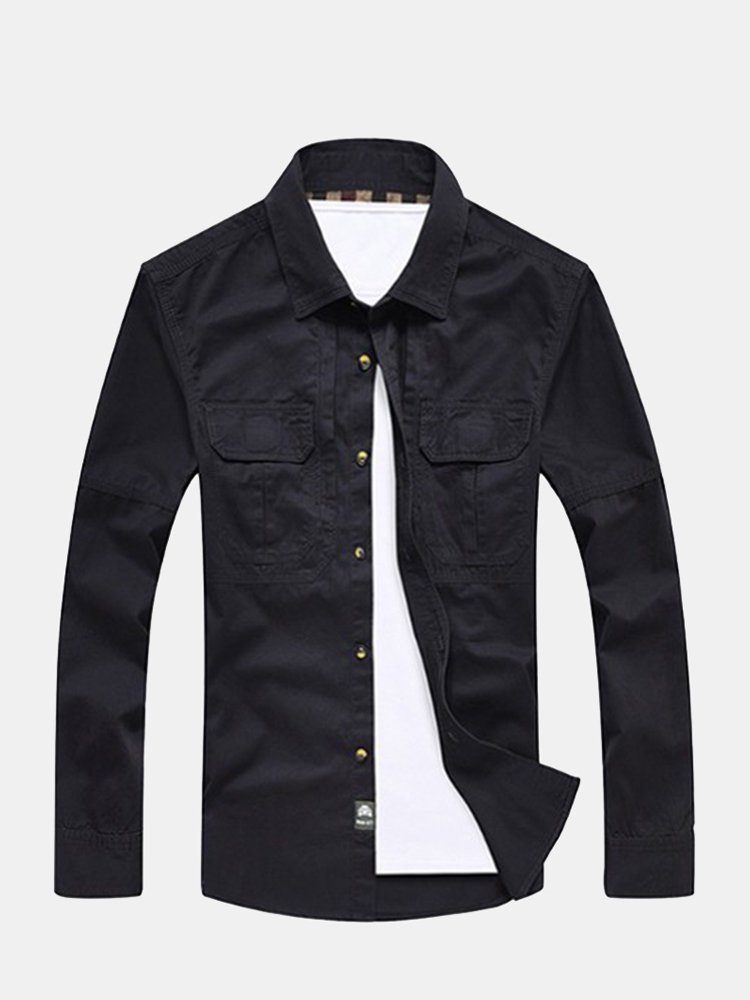 Men's Spring Fall Fashion Solid Color Pure Cotton Plus Size Casual Cargo Shirt