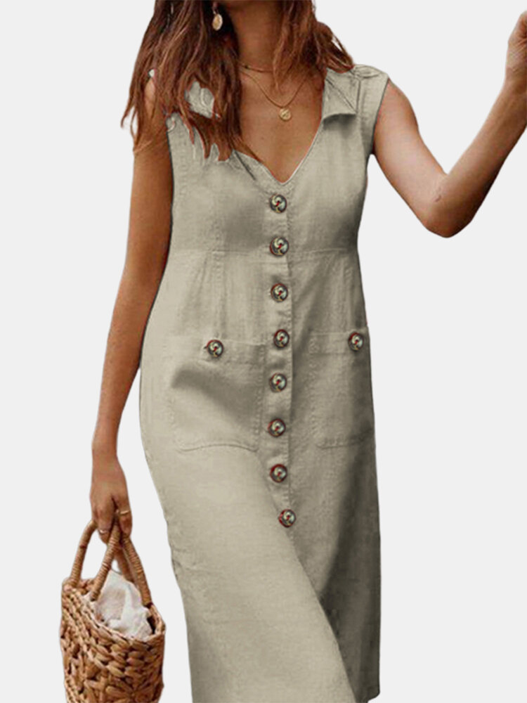 Solid Color V-neck Front Button Pockets Sleeveless Cotton Midi Dress