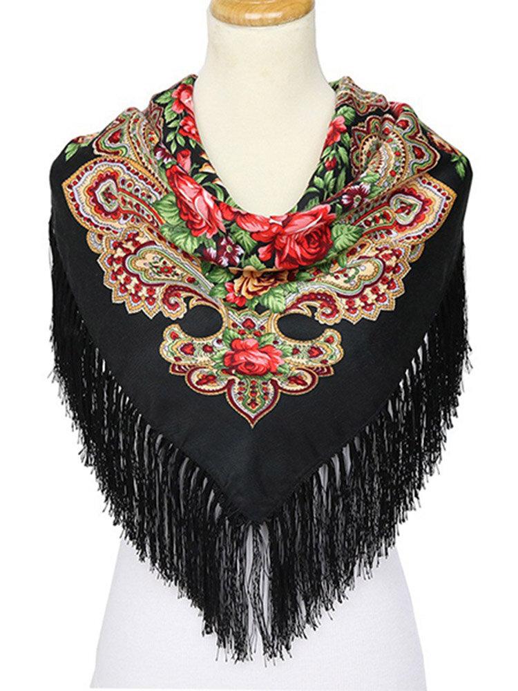 110M Women Retro Big Square Printing Tassels Autumn Winter Scarf Casual Cotton Warm Shawl