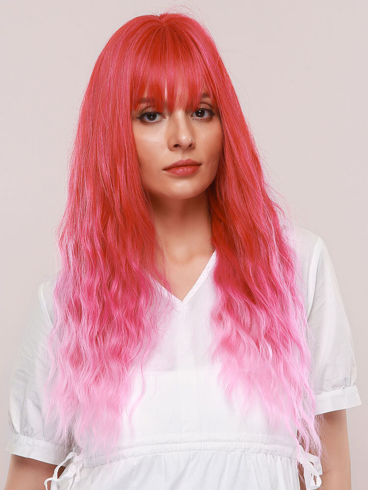 26 Inch Pink Synthetic Wig Cute Neat Bangs Pink Gradient Long Curly Hair Wig