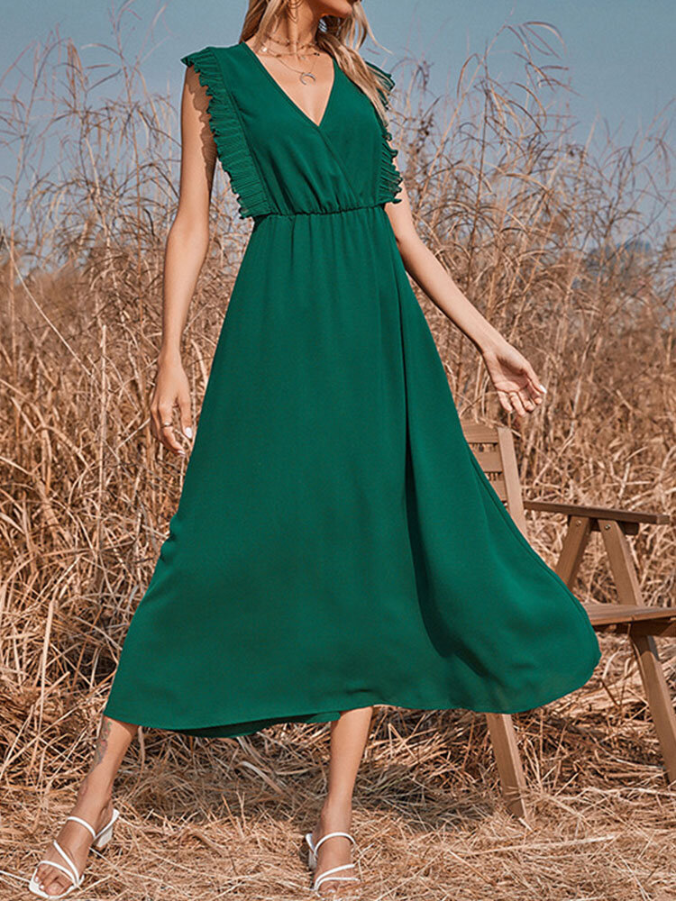 Summer Holiday Solid Color V-neck Sleeveless Casual Swing Dress