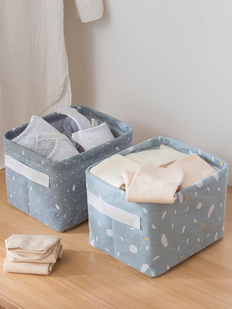 Printed Storage Box Cotton Linen Storage Basket Desktop Sundries Toy Storage Box Bathroom Cosmetic Storage Box