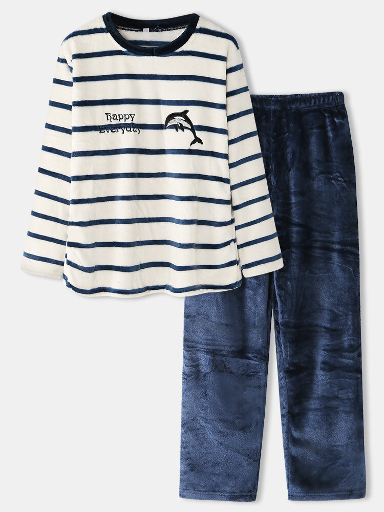 Women Plus Size Striped Cute Whale Pattern Flannel Round Neck Casual Home Pajamas Set