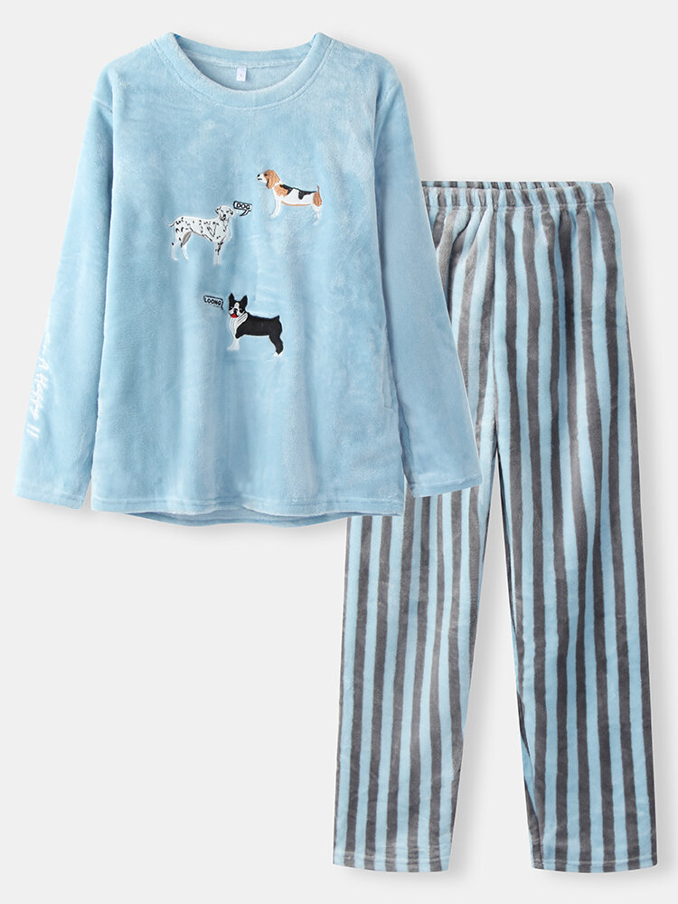Women Cute Dogs Embroidery Flannel Thick Striped Pants O-Neck Warm Pajamas Sets