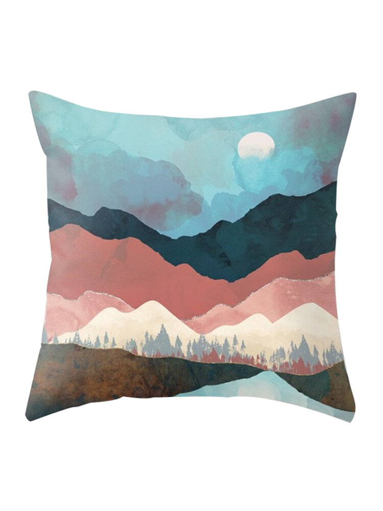 Modern Abstract Landscape Moon Linen Cushion Cover Home Sofa Throw Pillowcases Home Decor