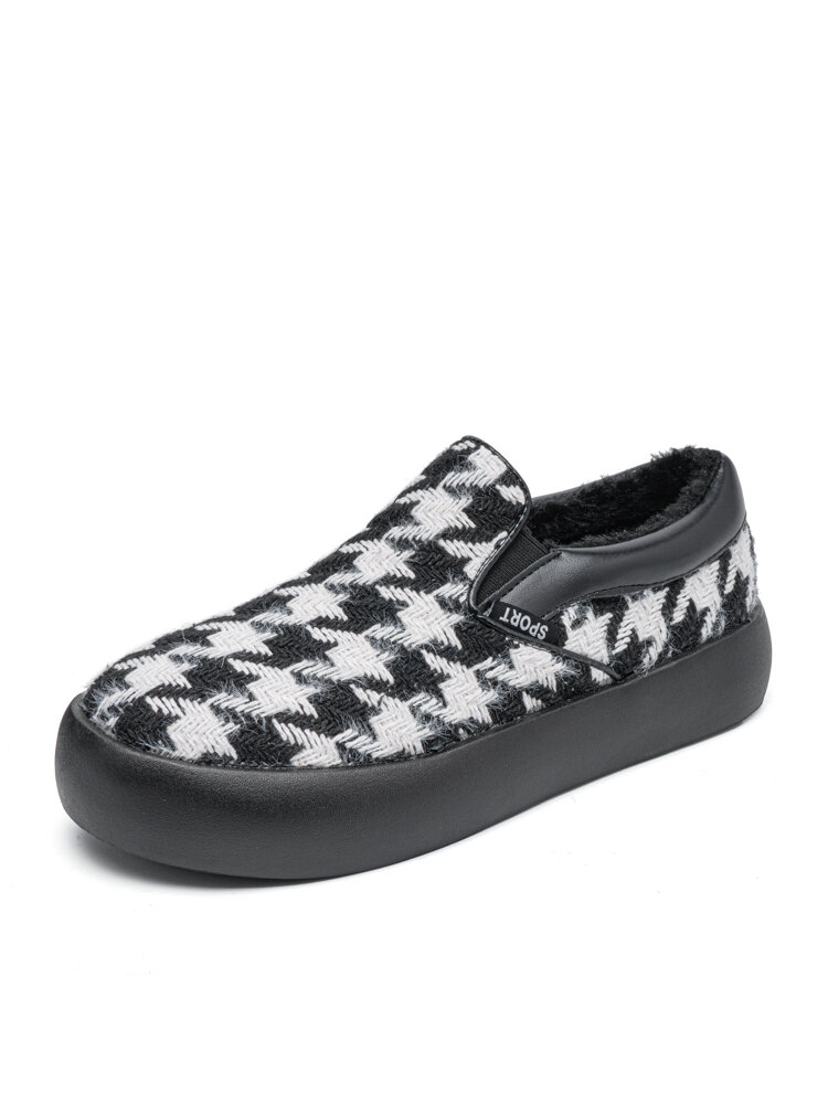 Women Brief Houndstooth Elastic Band Warm Lining Walking Shoes