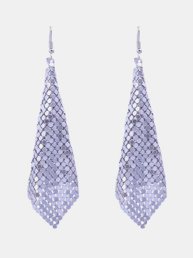 Bohemian Big Earrings Alloy Sequin Mental Diamond Geometric Hoop Earrings Jewelry for Women