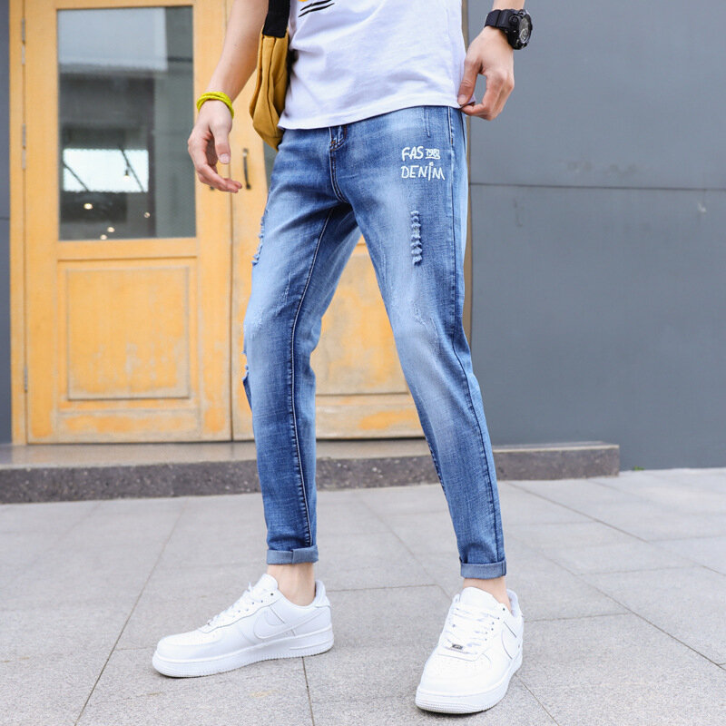 Mens_jeans_hole_pants_youth_pants_Stretch