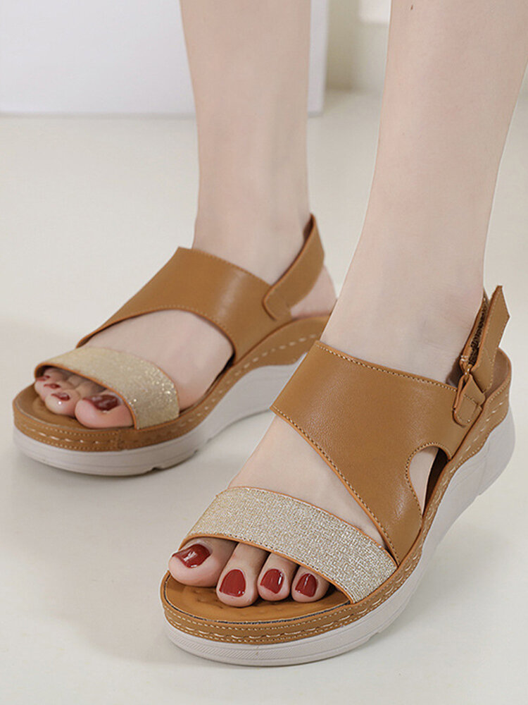 Women Daily Stitching Slingback Hook Loop Wedges Sandals