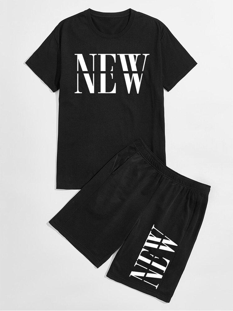 メンズニューレタープリントクルーネックカジュアルBlack2ピース衣装