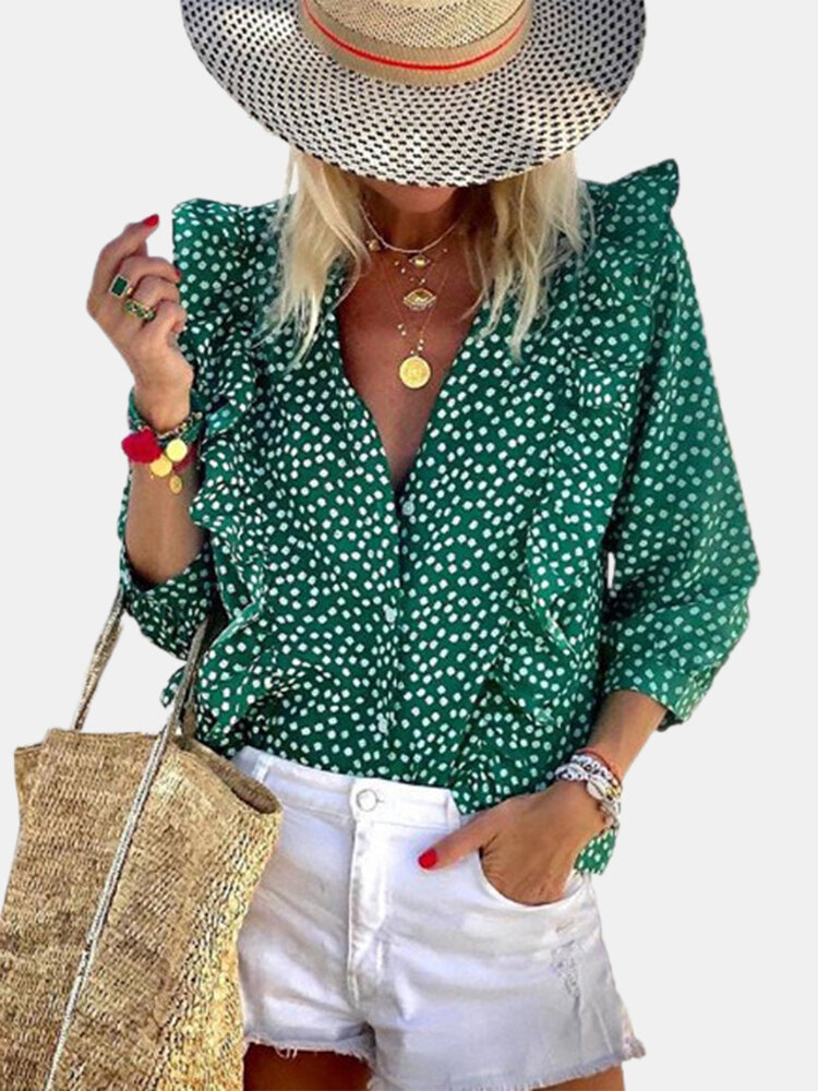 Floral Printed Long Sleeve V-neck Ruffle Blouse For Women