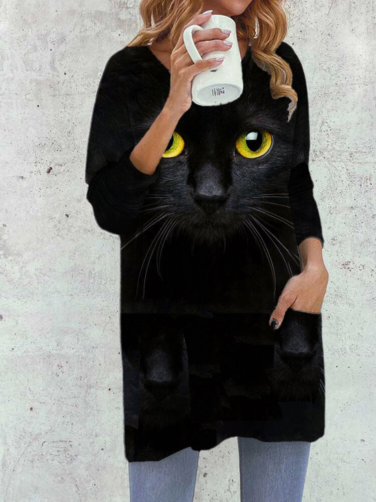 Cat Face Print Long Sleeve O-neck Casual Blouse For Women