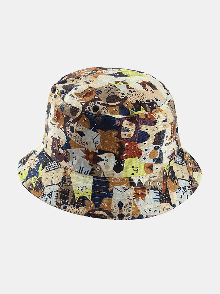Women & Men Double-Sided Animals Panda Pattern Casual Cute Bucket Hat