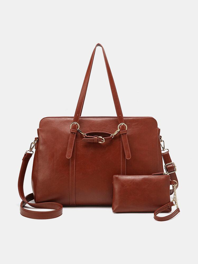 Faux Leather Multi-pocket Large Capacity 13.3 Inch Laptop Bag Two-piece Set Handbag Crossbody Bag Tote