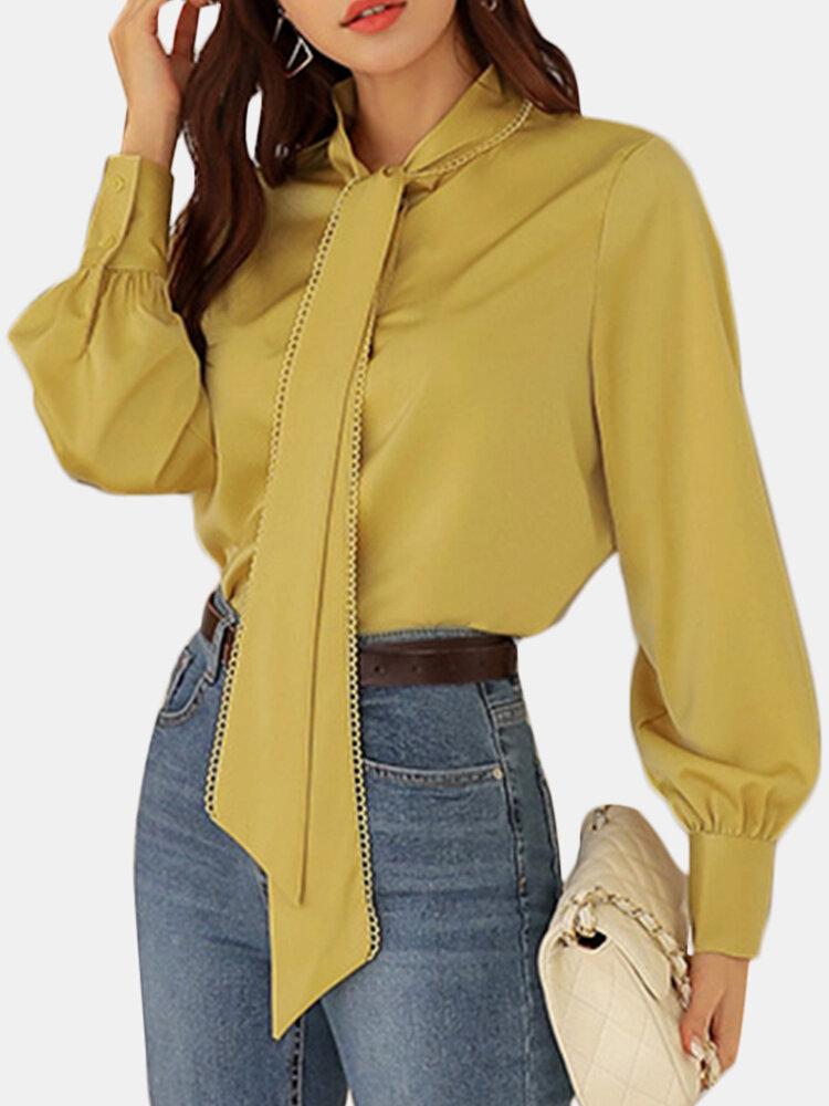 Chemise à manches longues de couleur unie avec cravate en dentelle pour femmes