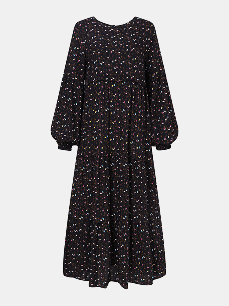 Women Ethnic Floral Print Patchwork Puff Long Sleeves O-neck Dress