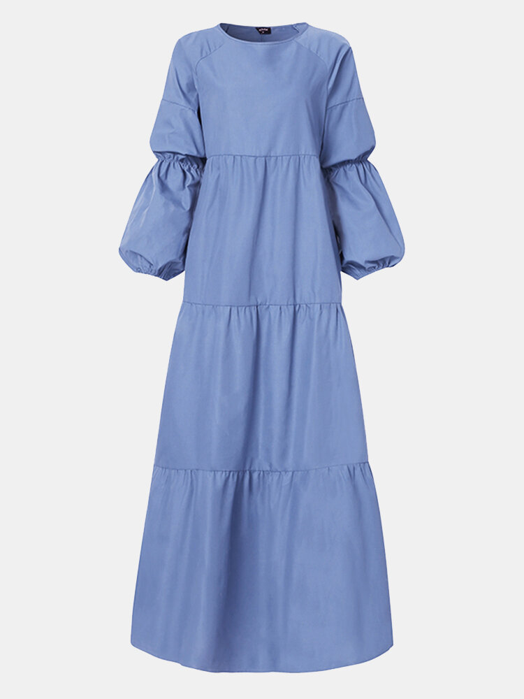 Solid Color Patchwork Long Sleeve Casual Dress For Women