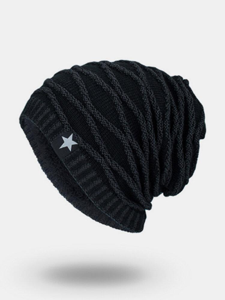 Men's Knit Wool Hat Warm Beanie With Five-star Pattern