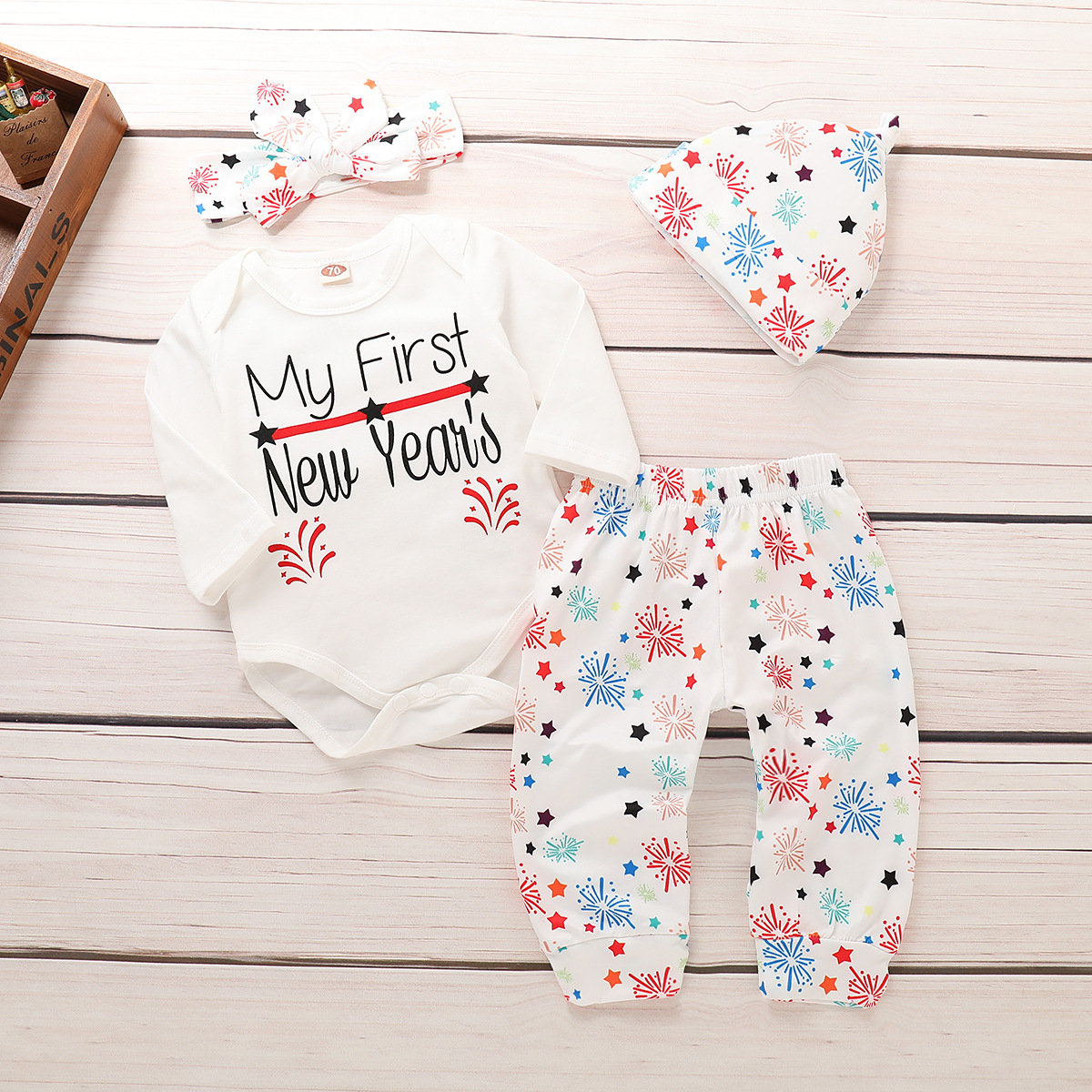 4Pcs New Year Print Baby Romper Clothing Set For 0-24M