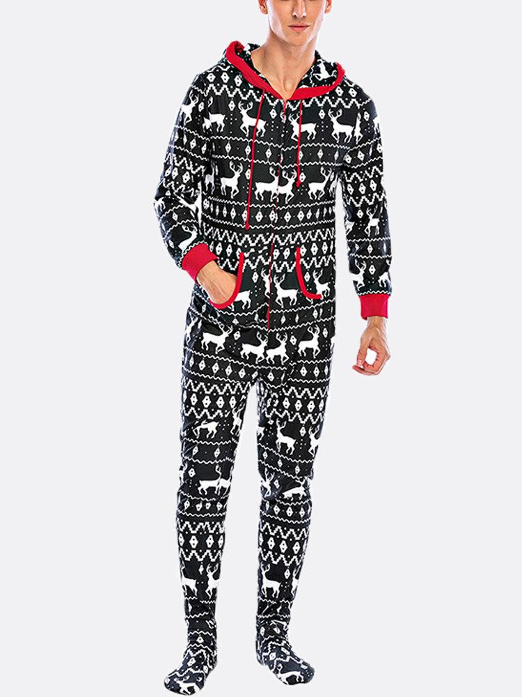 Mens Christmas Onesies Pajamas Snowflake Elk Printing Home Hooded Loungewear Footed Jumpsuit