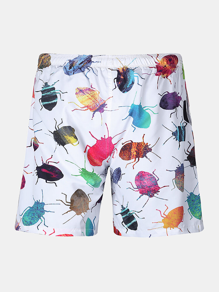 Men Funny Insect Print Board Shorts Mesh Liner Briefs Quick Drying Beach Swim Trunks
