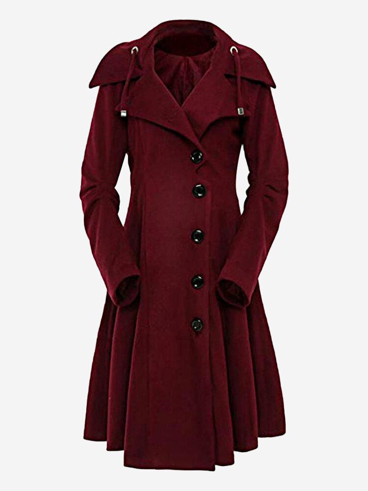 Casual Hooded Irregular Long Plus Size Woolen Coat