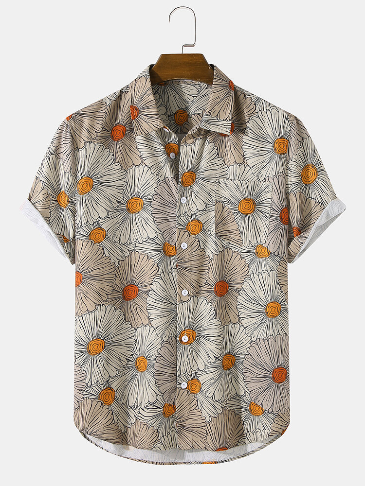 Mens Allover Floral Print Chest Pocket Turn Down Collar Short Sleeve Shirts
