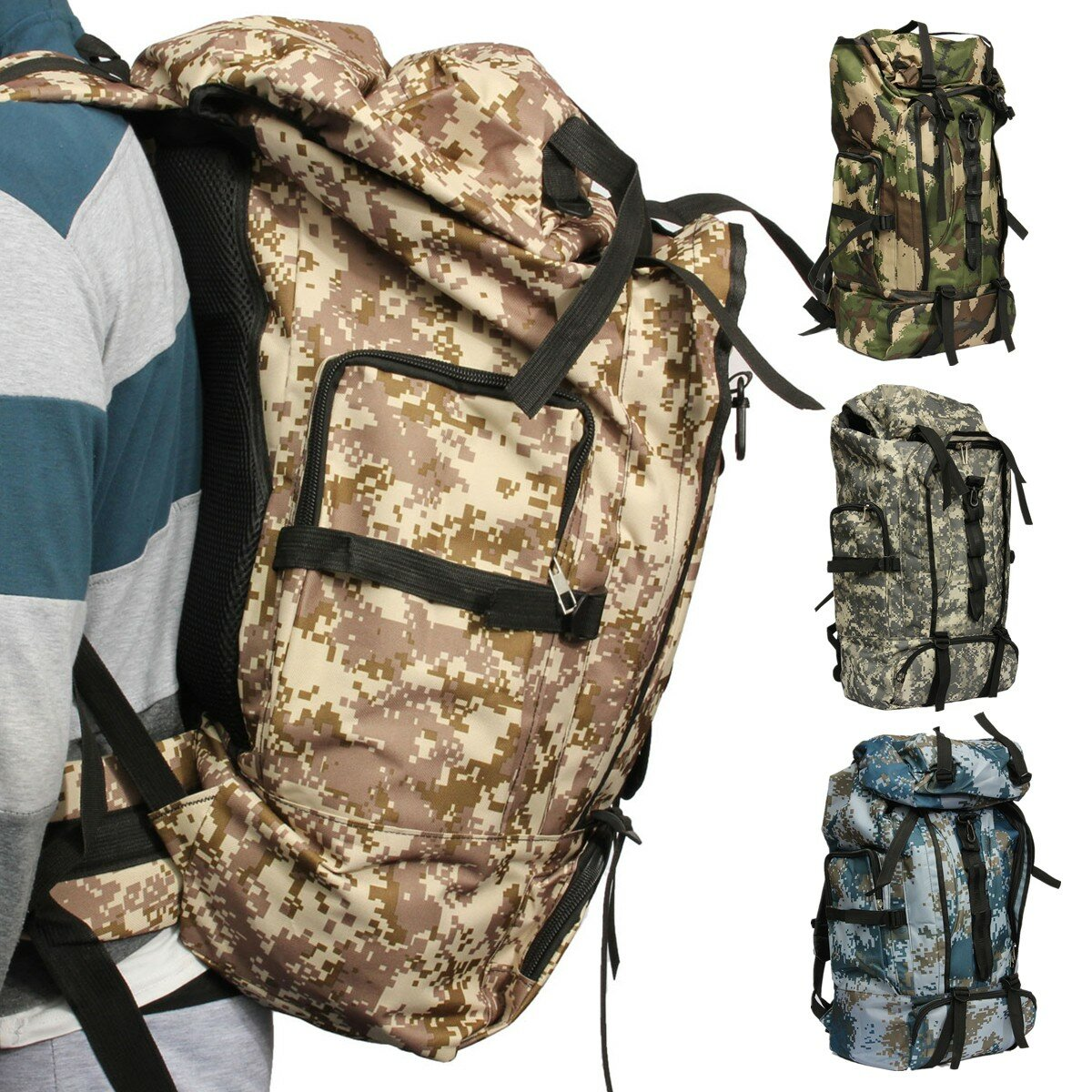 80L Big Capacity Travel Backpack Outdoor Nylon Sports Climbing Bag For Men