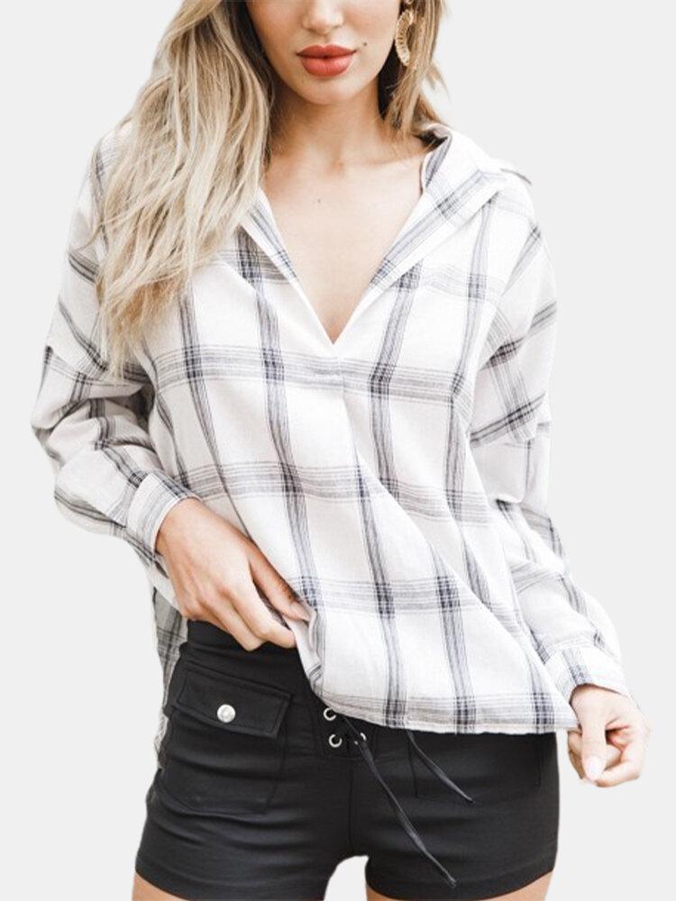 Women Plaid Print Loose Long Sleeve Casual Blouse