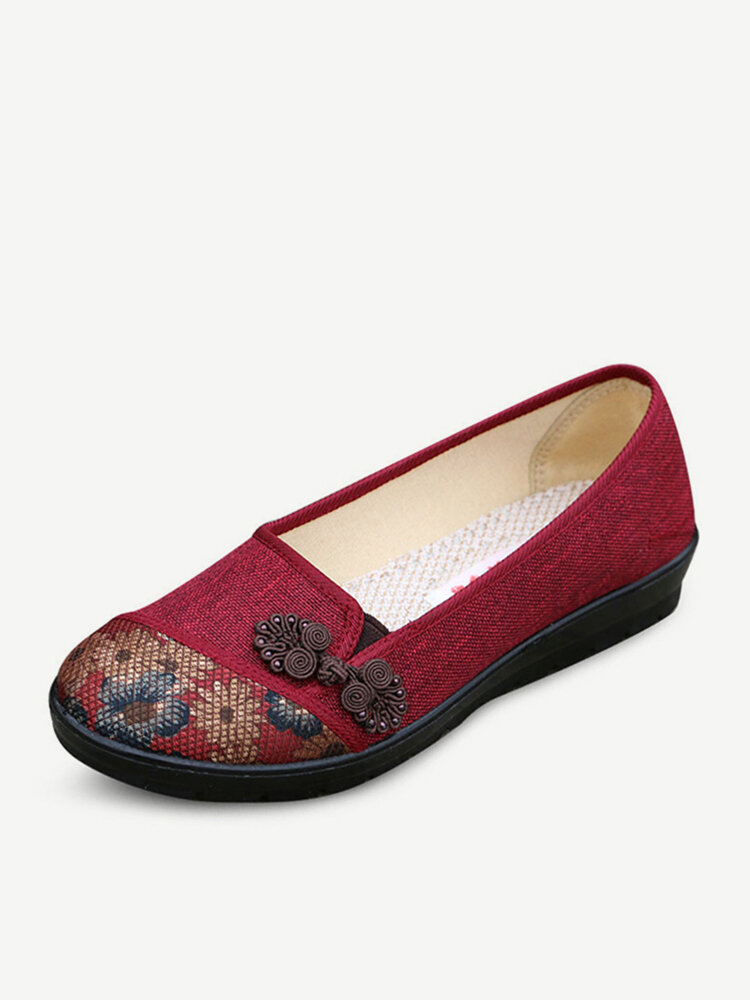 Floral Chinese Knot National Style Vintage Cotton Slip On Flat Shoes