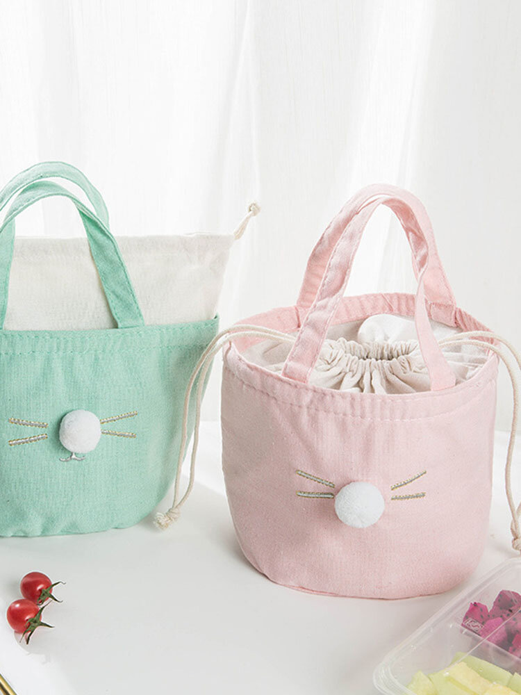 Cotton And Linen Drawstring Insulation Lunch Bag Barrel Cosmetic Bag Travel Outdoor Picnic