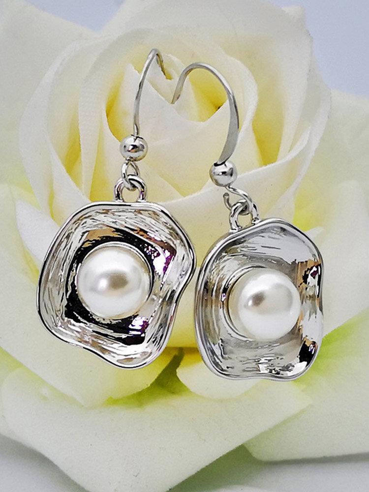 925 Silver Plated Women Earrings Flower Shell Pearl Pendant Earrings