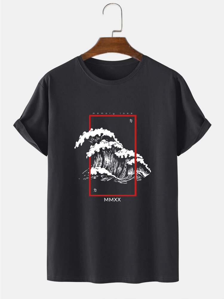 Mens Wave Graphic Japanese Style 100% Cotton Short Sleeve T-Shirts