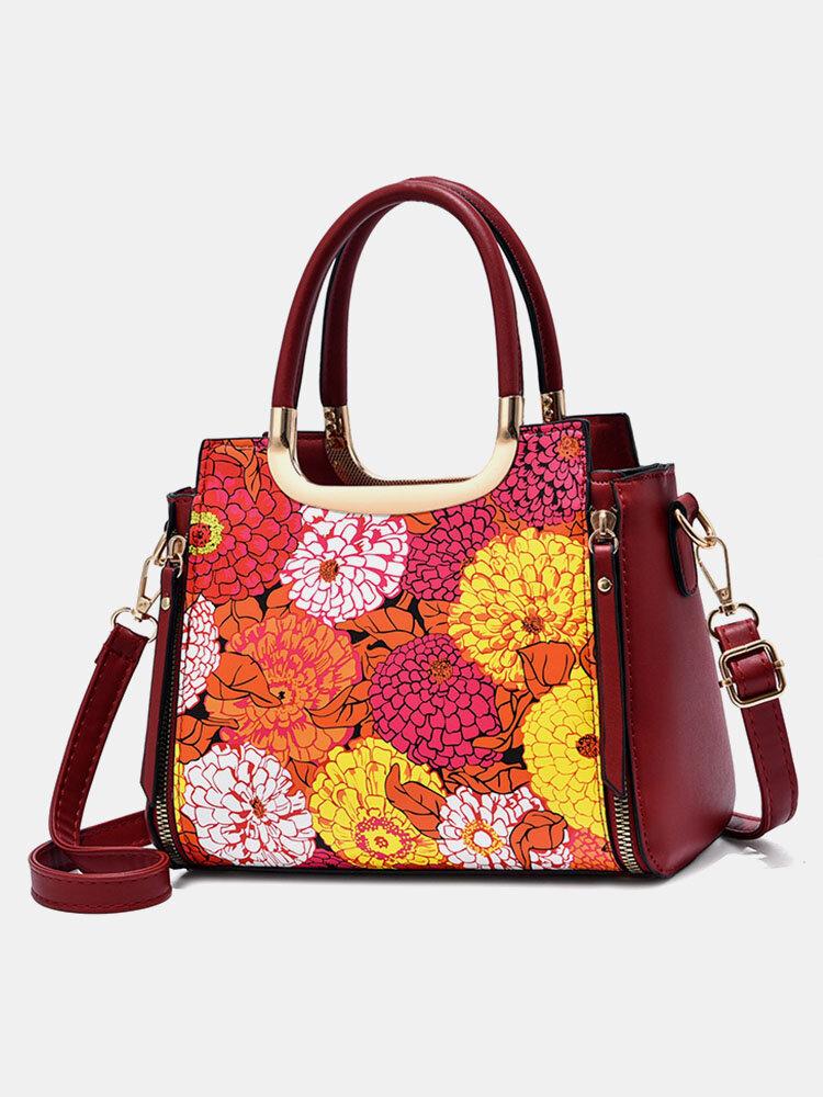 Elegant Flower Exquisite Print Pattern Handbag Fashion Hardware Decor Multi-Carry Crossbody Bag