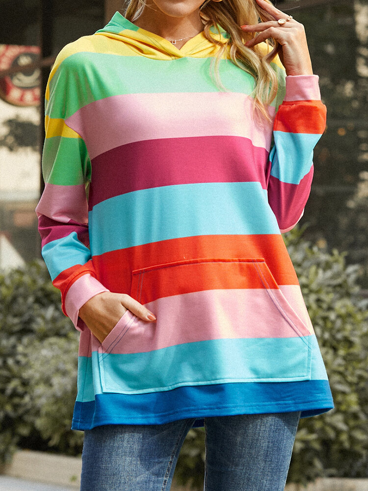 Colorful Striped Print Pocket Long Sleeve Casual Hoodie for Women