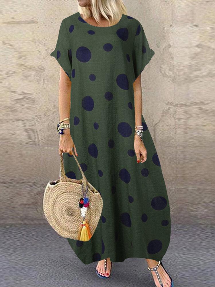 Polka Dot Print Short Sleeve Plus Size Baggy Dress with Pockets