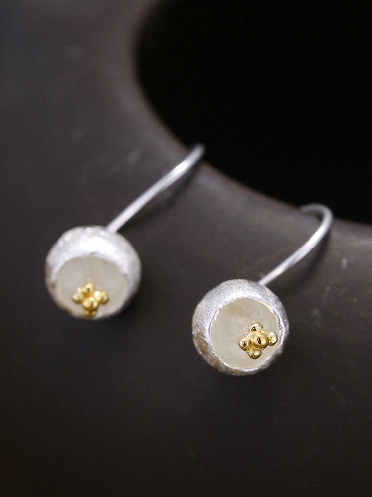 925 Silver Plated Women Earrings Hemispherical Flower Pendant Earrings