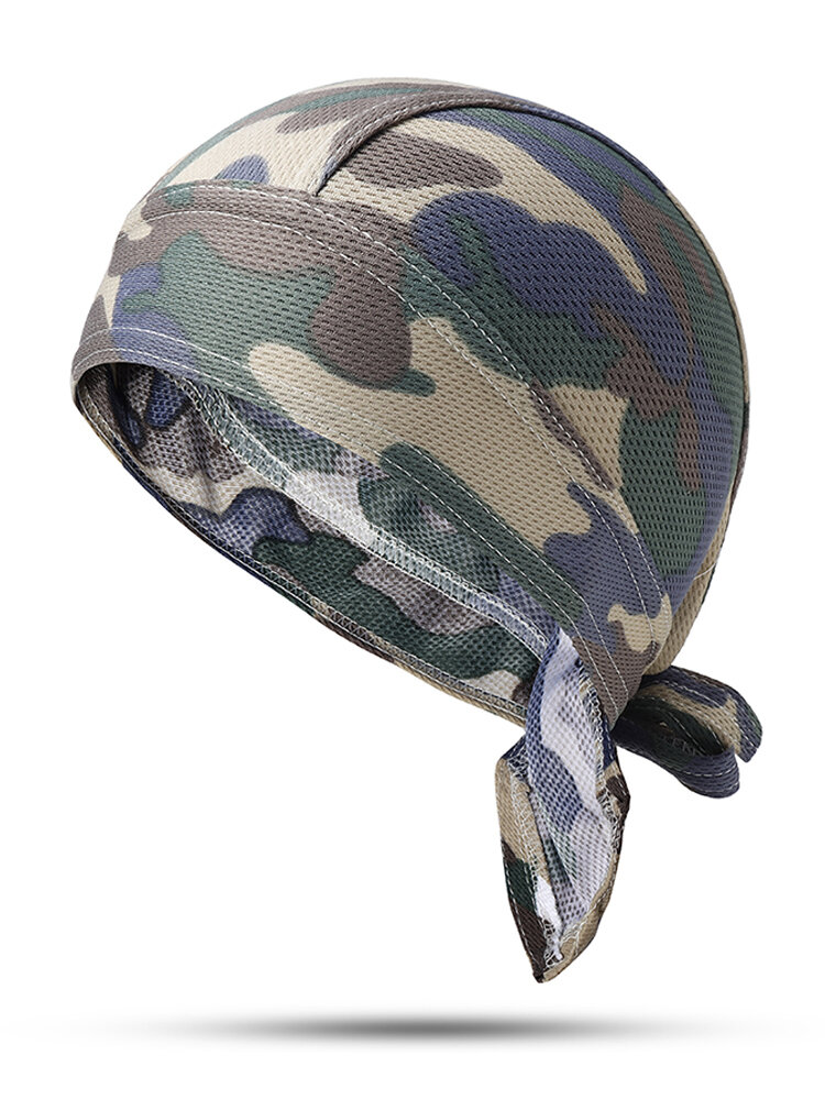 Mens Camouflage Pirate Hat Breathable Foldable Sports Sun Cap Outdoor Riding Headpiece