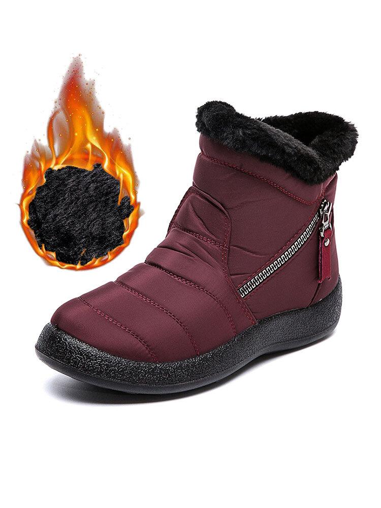 Women's Round Toe Zipper Soft Warm Waterproof Non-Slip Snow Boots