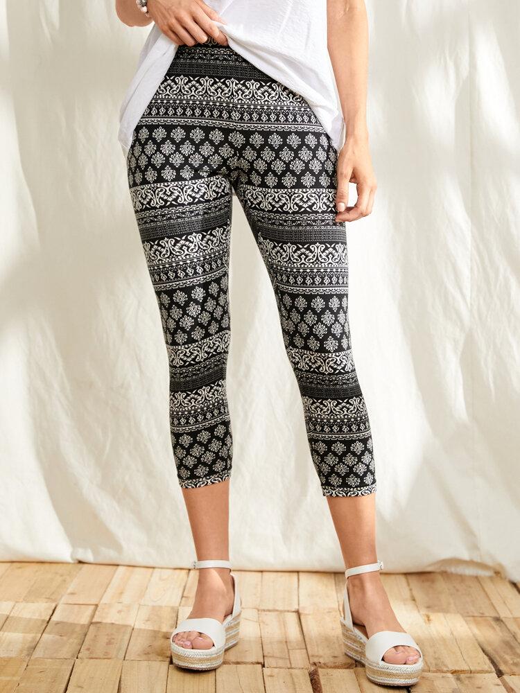 Ethnic Pattern Print High Waist Tight Cropped Leggings for Women