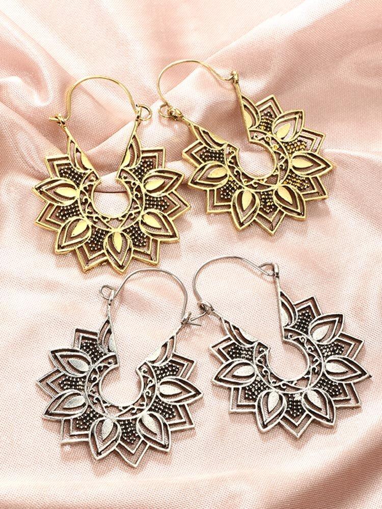 Vintage Geometric Metal Hollow Flower Big Earring Ethnic Water Drop Hollow Sunflower Stud Earrings