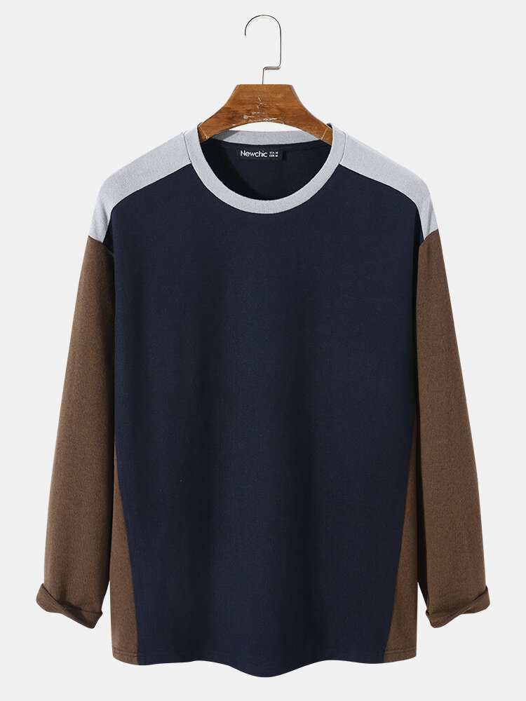 Newchic coupon: Tricolor Patchwork Overhead T-Shirt