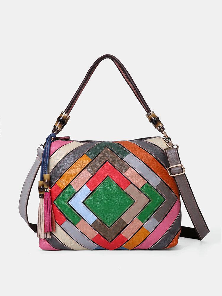 Damen Echtes Leder Geometrische Patchwork Umhängetasche Handtasche