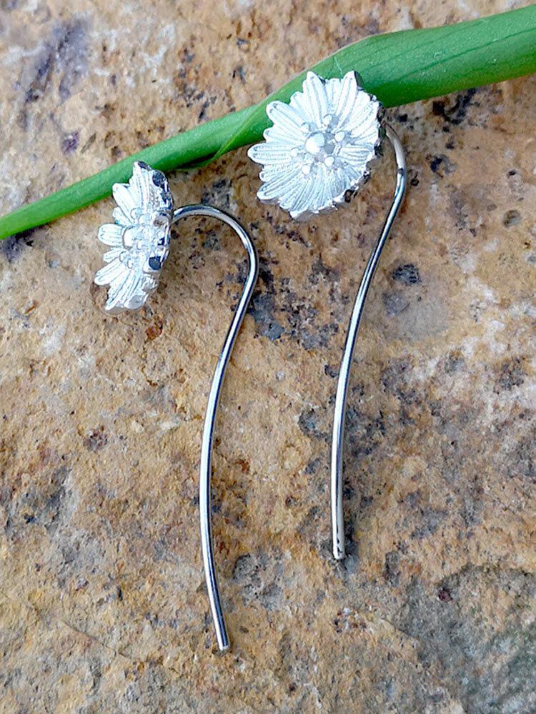 925 Silver Plated Flower Leaf Women Earrings Sun Flower Pendant Earrings