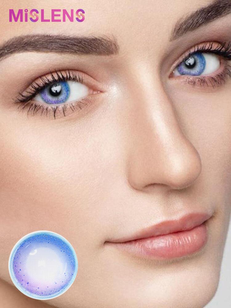 US WAREHOUSE 2 Pcs Rainbow Neon Blue Non-prescription Yearly Colored Contact Lenses